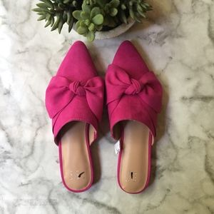 A New Day Pink Rhea Mules With Bow